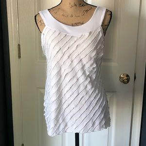 White Harve' Benard sleeveless ruffled blouse